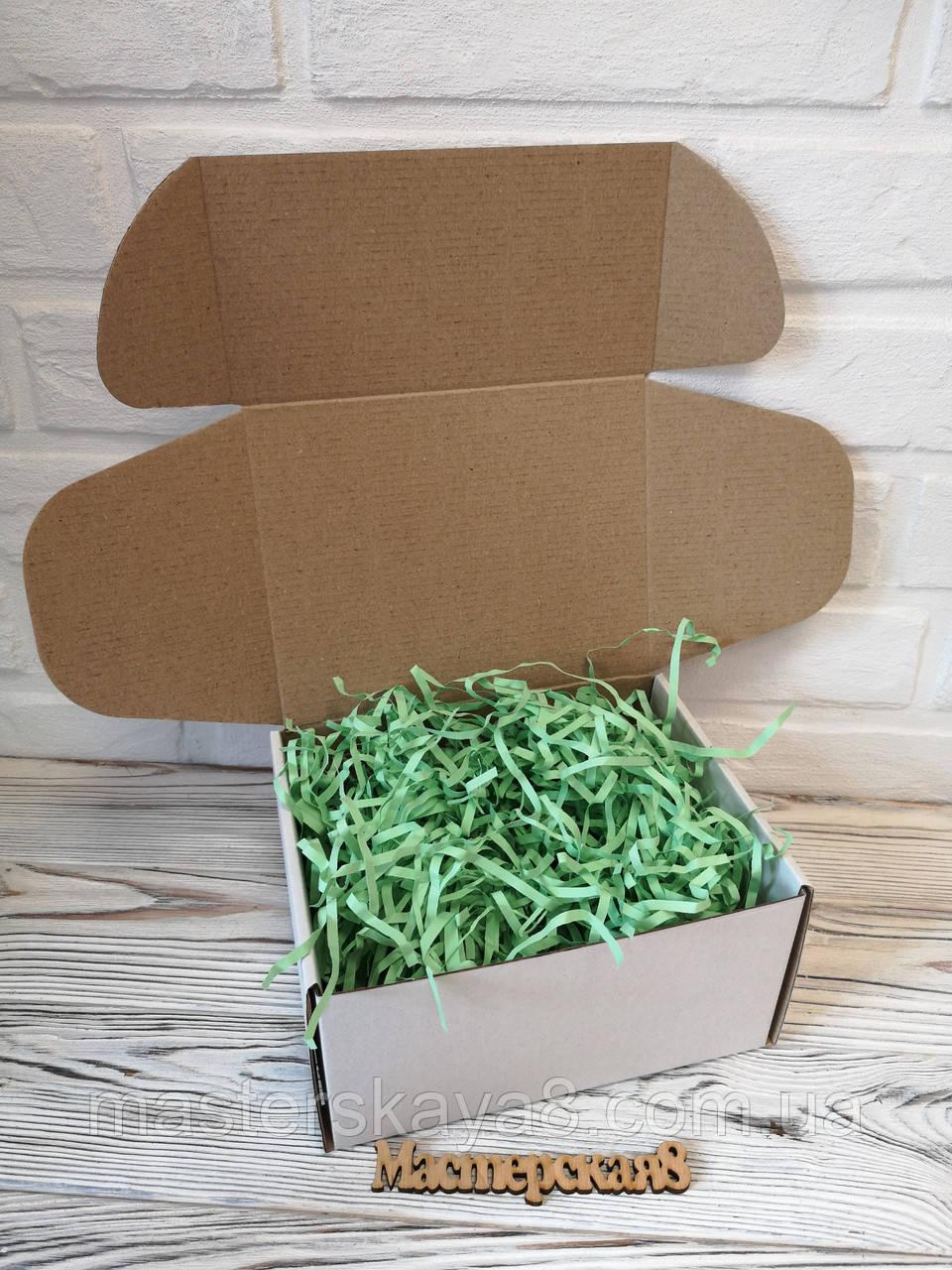 Коробка белая 190*150*100 мм для подарка с салатовым наполнителем , для сувенира, для мыла, косметики