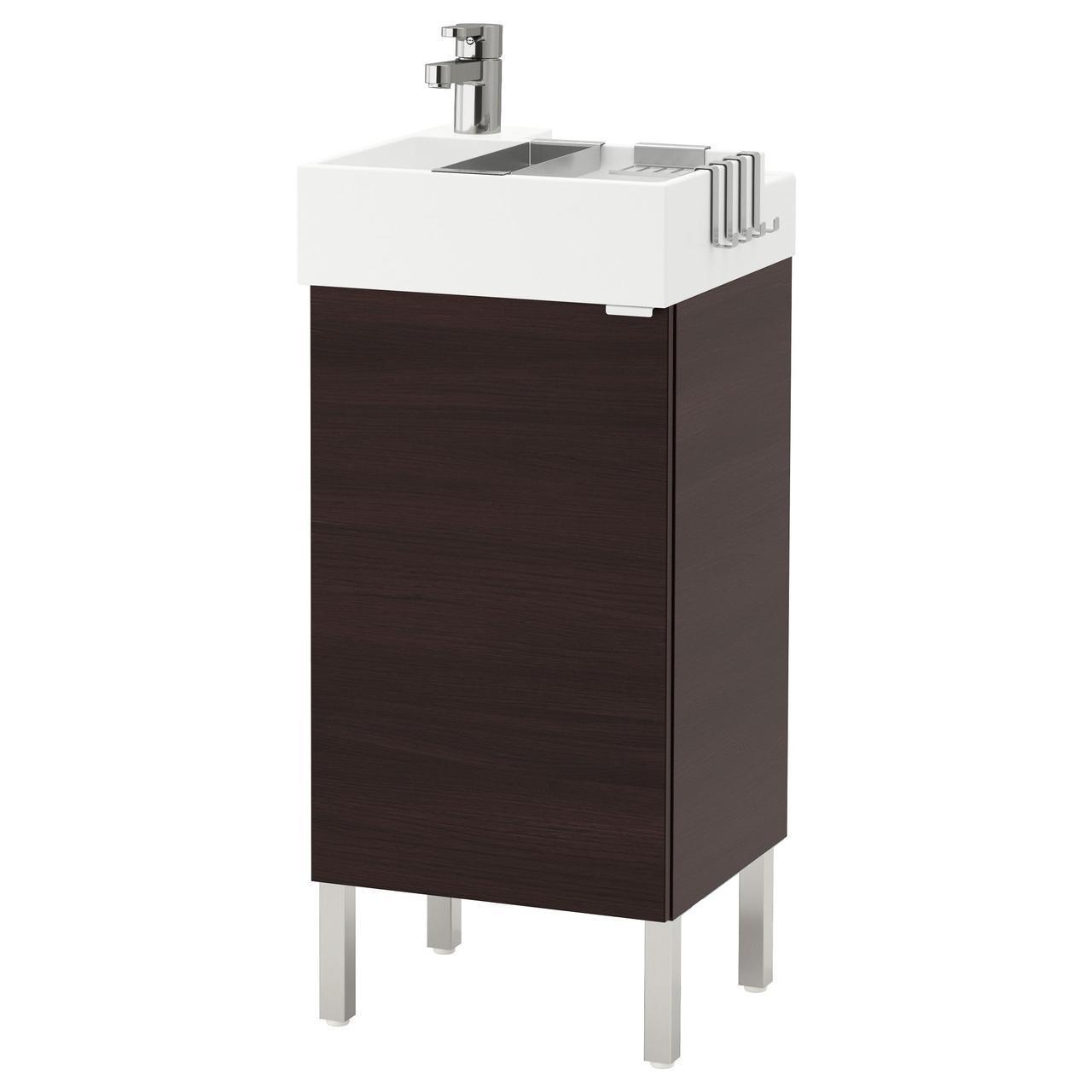 IKEA LILLANGEN Шкаф под умывальник с раковиной, черно-коричневый  (592.063.63)