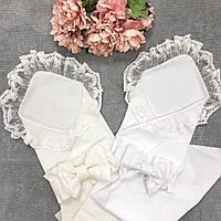 Кружевная нарядная пелёнка (вкладыш) с бантомна выписку/крестины(молочная, белая)