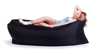Надувной лежак, шезлонг, диван, мешок, матрас + Сумка для переноски Черный
