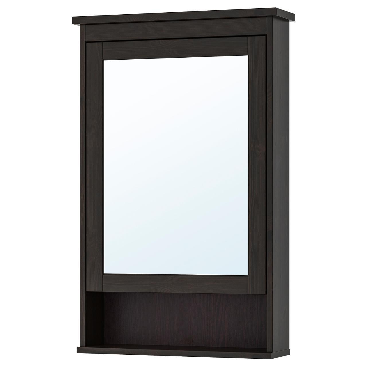 IKEA HEMNES Шкаф с зеркалом и дверью, черно-коричневая Морилка  (302.176.73)