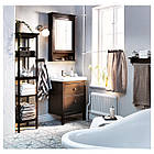 IKEA HEMNES Шкаф с зеркалом и дверью, черно-коричневая Морилка  (302.176.73), фото 4