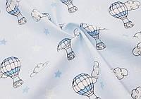 Муслин принт Воздушный шар - голубой