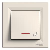 Кнопка звонок с подсветкой самозажимные контакты ASFORA Schneider Electric Крем