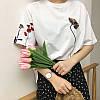 Футболка женская белая с цветами и вышивкой