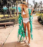 Туника пляжная женская длинная с пальмовыми листьями, фото 1