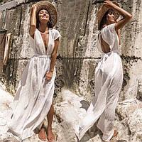 Туника пляжная женская длинная белая с поясом, фото 1