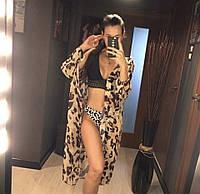 Туника пляжная шифоновая леопардовая