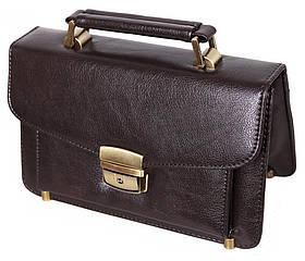 Мужская сумка барсетка классическая 8s41366-2BR коричневая Премиум 8 карманов, замок Польша