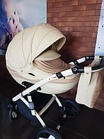 Детская коляска 2-в-1 Lumi (Люми эко-кожа) на пластиковой корзине d11 - слоновая кость