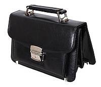 Мужская сумка барсетка классическая 41366-1BL черная Премиум 8 карманов, замок Польша