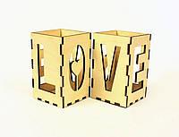 """Подставка для ручек деревянная """"Love"""", LaserBox"""