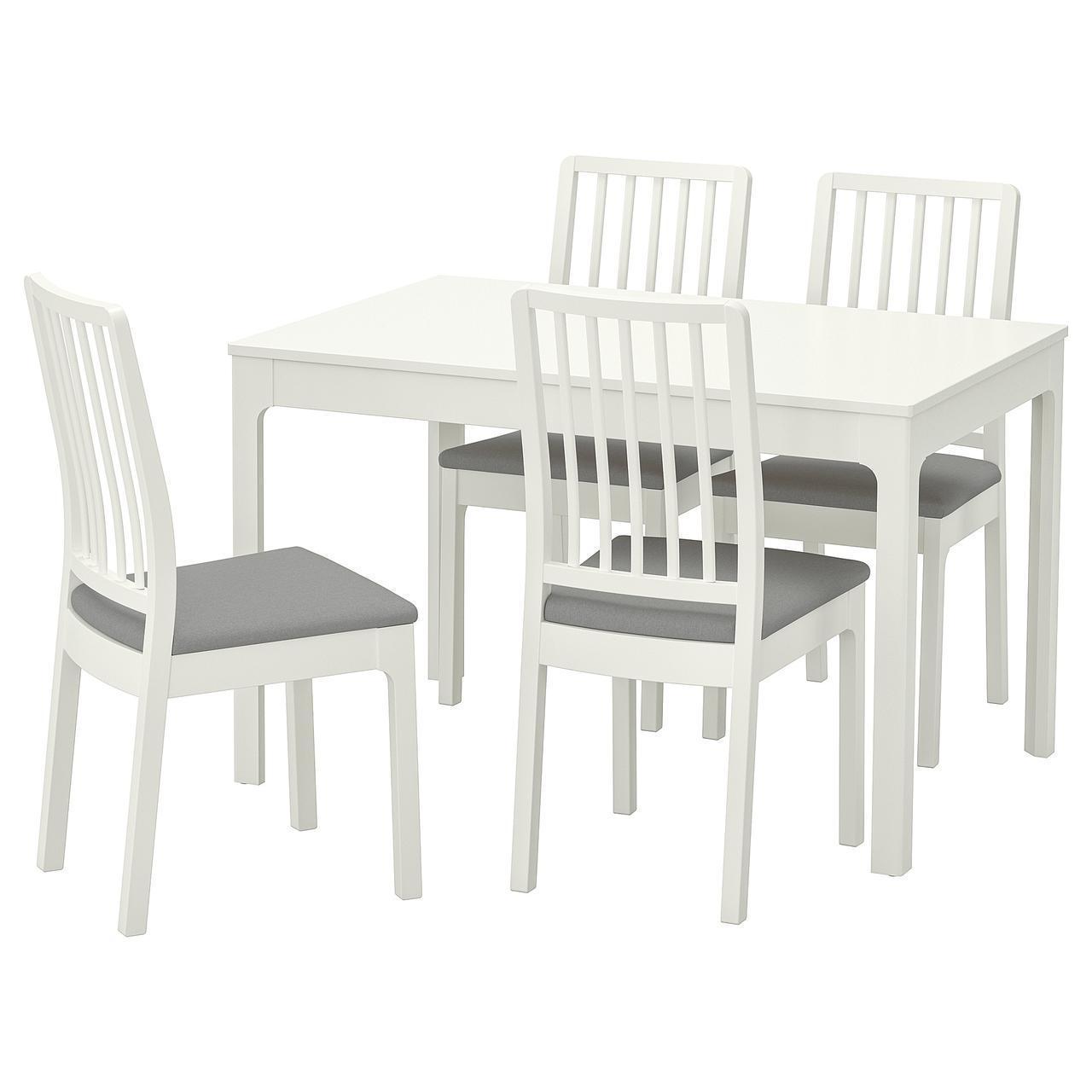 IKEA EKEDALEN/EKEDALEN Стол и 4 стула, белый, Оррста светло-серый  (792.968.57)