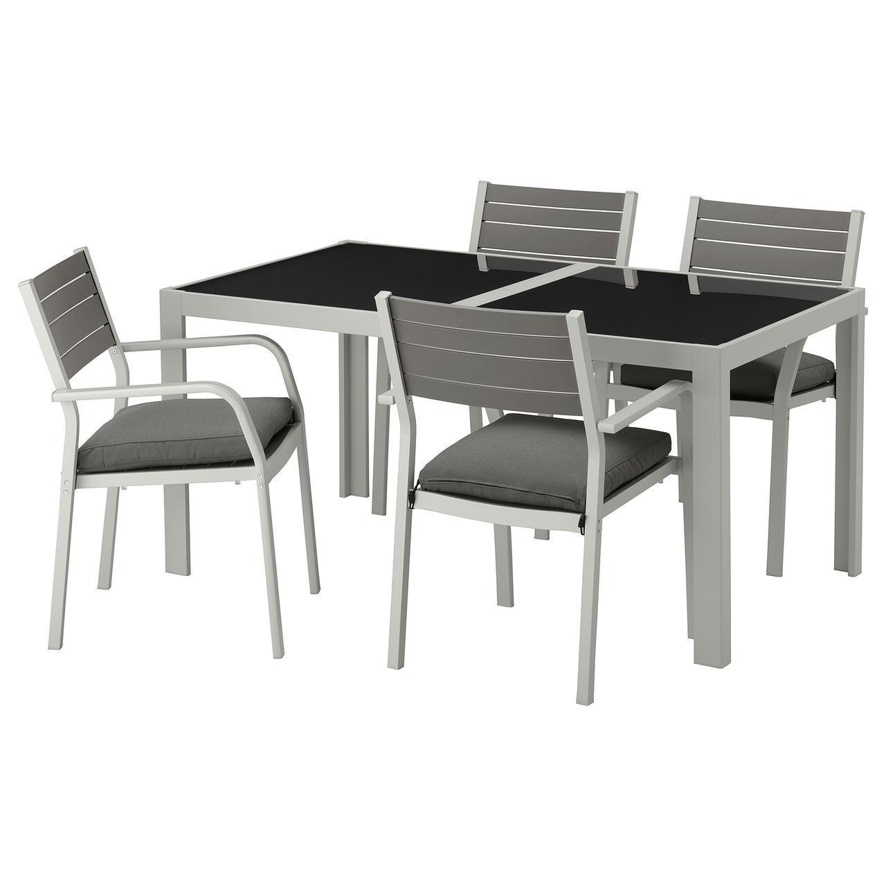 IKEA SJALLAND Садовый стол и 4 стула, стекло, (492.656.83)