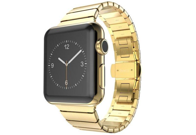 Блочный браслет золотого цвета Link Apple Watch 42 мм (AL813_38mm)
