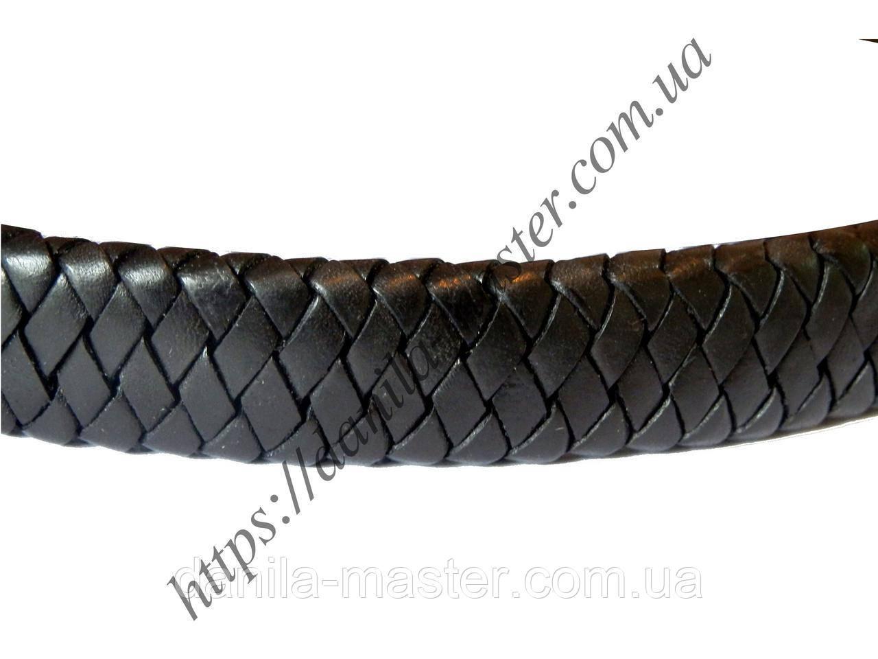 Шнур для браслетов прямоугольный кожаный черный 12*6 мм