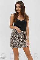 Леопардовая юбка мини с пайетками золотистая