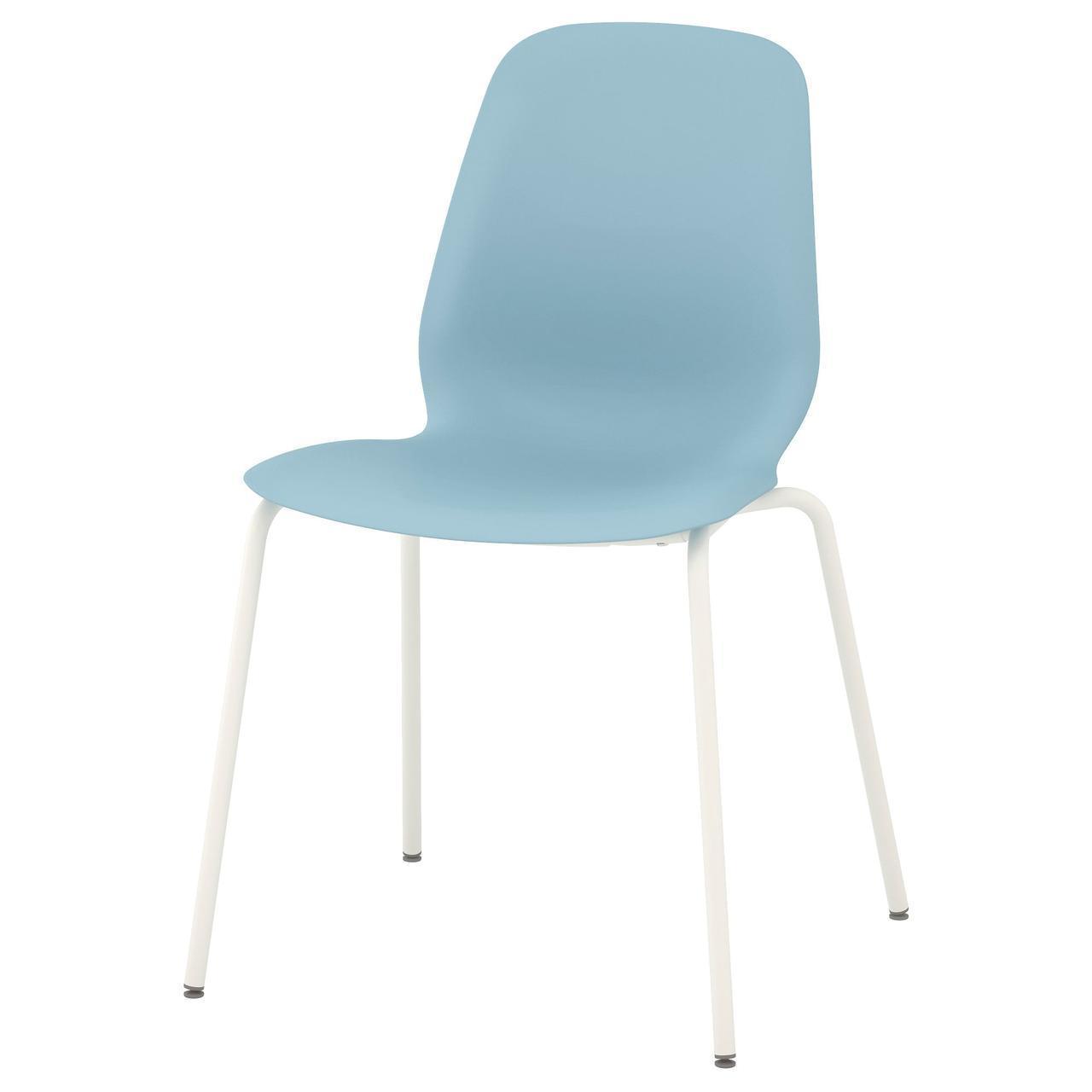 IKEA LEIFARNE Стул, светло-голубой, Брур белый  (091.977.09)