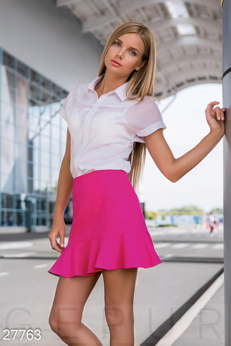 Короткая юбка с воланом фуксия