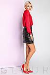 Короткая юбка с пайетками черная, фото 3