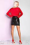 Короткая юбка с пайетками черная, фото 5