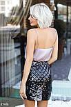 Короткая юбка с пайетками черная, фото 6