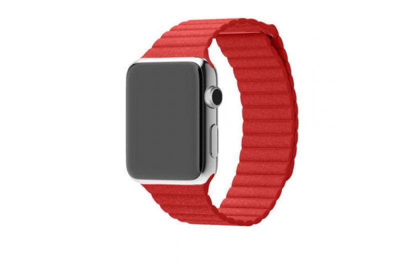 Ремешок Grand для смарт-часов Apple Watch 38mm Stainless Steel Case Red Leather Loop (AL970_38mm)