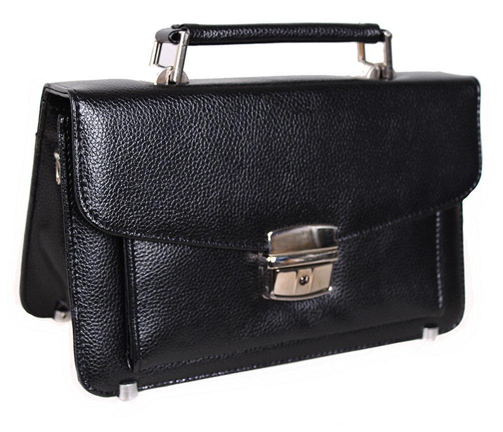 Мужская сумка барсетка классическая YW202Black черная Премиум кожа 8 карманов, замок Польша