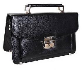 Мужская сумка барсетка классическая 8sYW202Black черная 8 карманов, замок Польша
