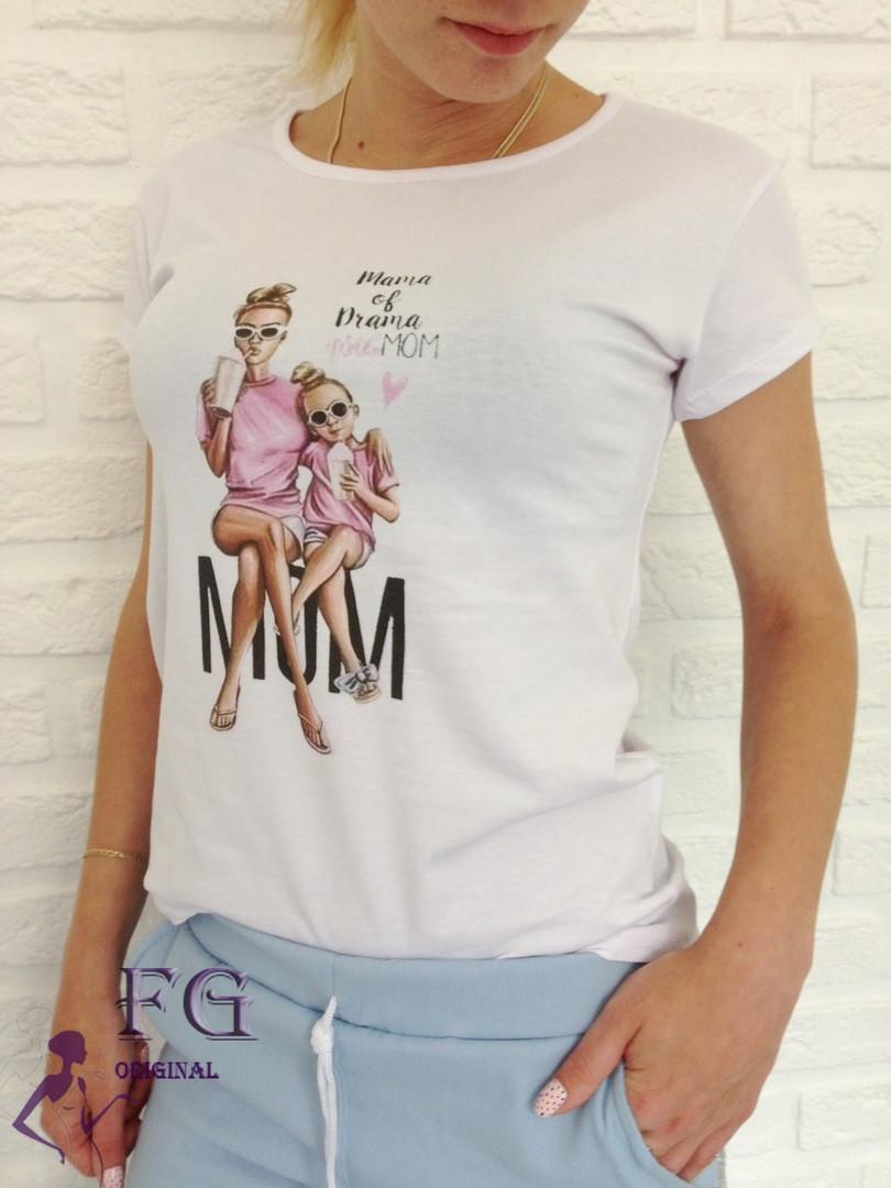 """Модная женская футболка с рисунком """"Mama of Drama В И"""