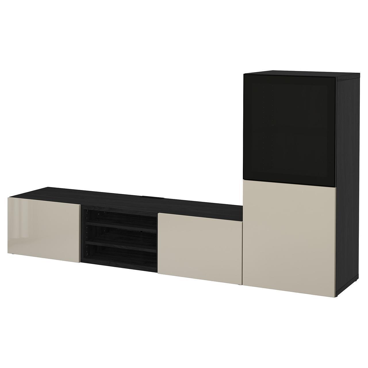 IKEA BESTA Тумба под телевизор с стеклянными дверьми, черно-коричневый, Сельсвикен (591.899.57)
