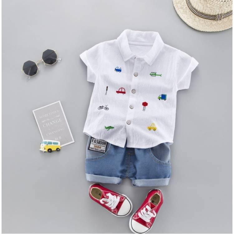 Нарядный летний костюм на мальчика  рубашка +шорты джинс 3 года  Fashion