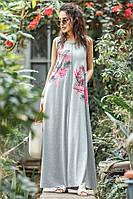Длинное трикотажное летнее платье с принтом