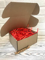 Коробка 205*205*125 мм крафт для подарка с красным наполнителем , для сувенира, для мыла, косметики, пряника