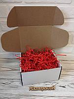 Коробка белая 205*205*125 мм для подарка с красным наполнителем , для сувенира, для мыла, косметики, пряника