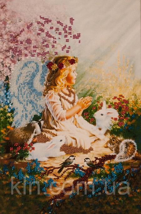 Картины для вышивания бисером на ткани FLF-007 Ангелочек 20*30 Волшебная страна качественный
