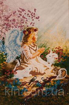 Картини для вишивання бісером на тканини FLF-007 Янголятко 20*30 Чарівна країна якісний