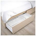 IKEA MALM Кровать высокая, 4 ящика, белый стаинедед дубовый шпон, (891.751.62), фото 6
