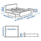 IKEA MALM Кровать высокая, 4 ящика, белый стаинедед дубовый шпон, (891.751.62), фото 10