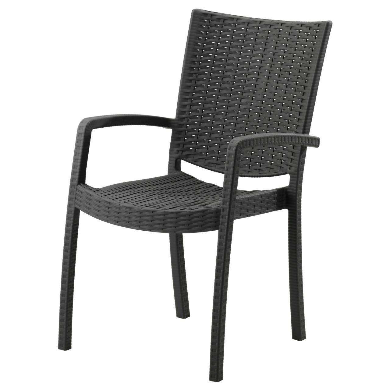 IKEA INNAMO Садовый стул с подлокотниками, темно-серый  (103.124.21)