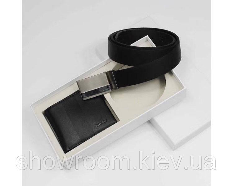 Мужской подарочный набор ремень и портмоне (433)