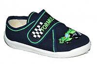 Детские летние мокасины для мальчика на липучке (Темно-синие, Formula1, зелёная оборка)