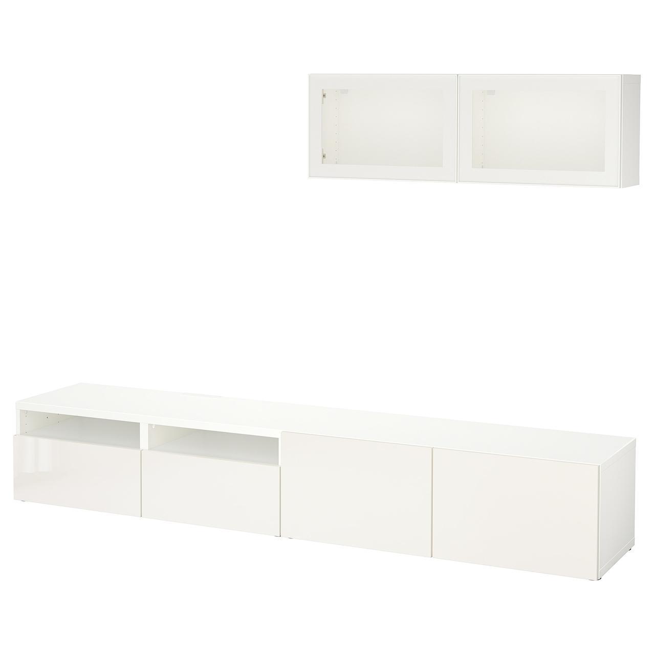 IKEA BESTA Тумба под телевизор с стеклянными дверьми, белый, Сельсвикен глянцевый/белый (991.904.83)