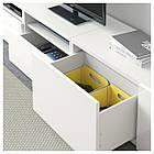 IKEA BESTA Тумба под телевизор с стеклянными дверьми, белый, Сельсвикен глянцевый/белый (991.904.83), фото 3