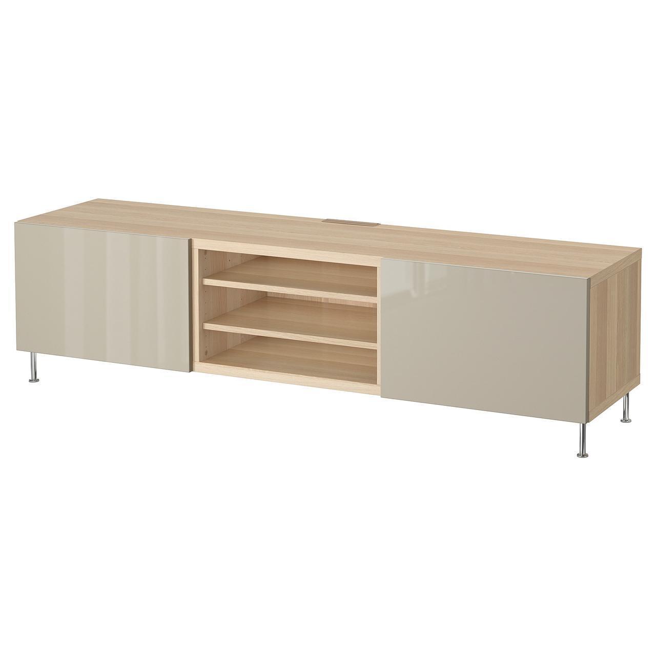 IKEA BESTA Тумба под телевизор с ящиками, белый дуб, Сельсвикен/Сталларп (792.675.91)