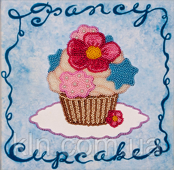 Набори для вишивки бісером на полотні FLF-008 Блакитне тістечко 20*20 Чарівна країна якісний