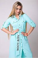 Платье-рубашка с вышивкой на поясе с 42 по 50 размер