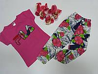 Нарядный костюм на девочку лето розовый футболка + велосипедки 1-2.лет