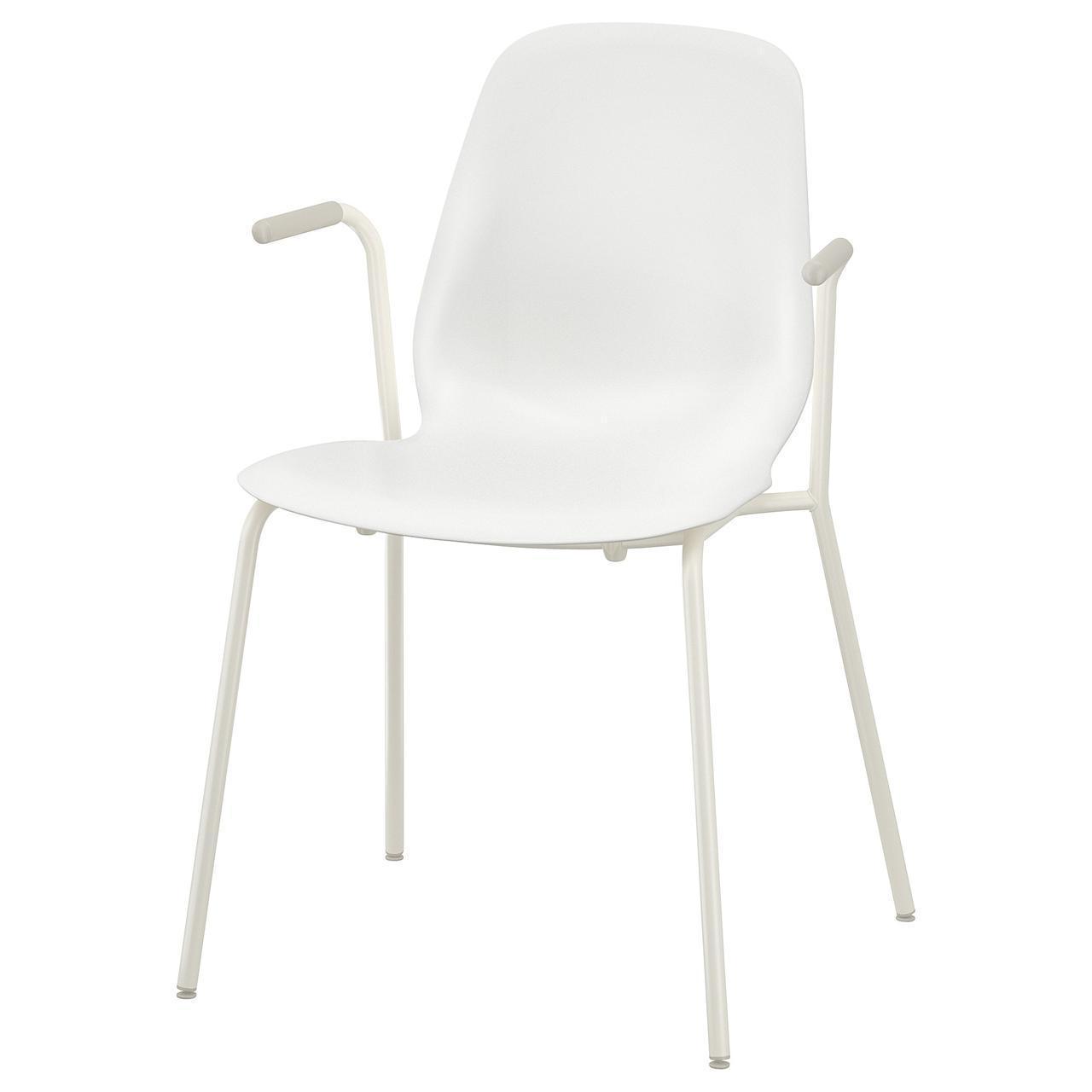 IKEA LEIFARNE Стул с подлокотниками, белый, Дитмар белый  (592.597.52)