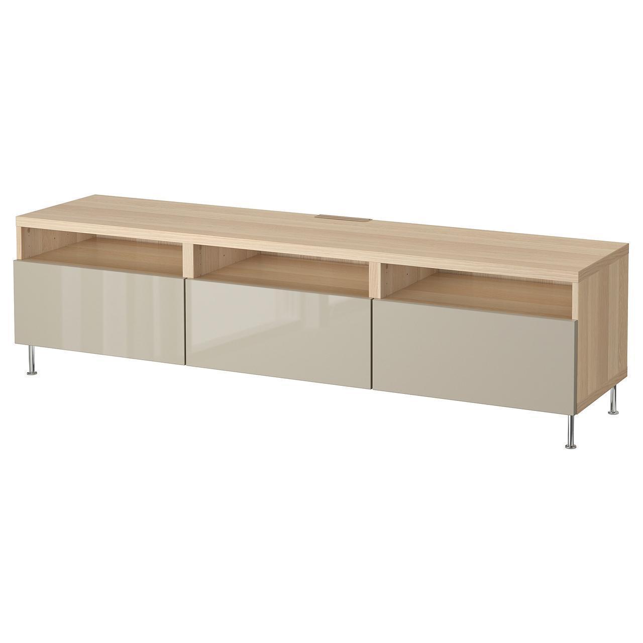 IKEA BESTA Тумба под телевизор с ящиками, белый дуб, Сельсвикен/Сталларп бежевый  (092.682.35)
